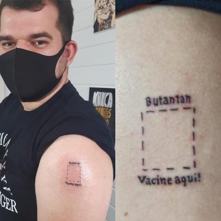 O estudante de direito Noriel Ramos fez uma tatuagem para marcar o local exato onde tomará a vacina contra a covid - Reprodução