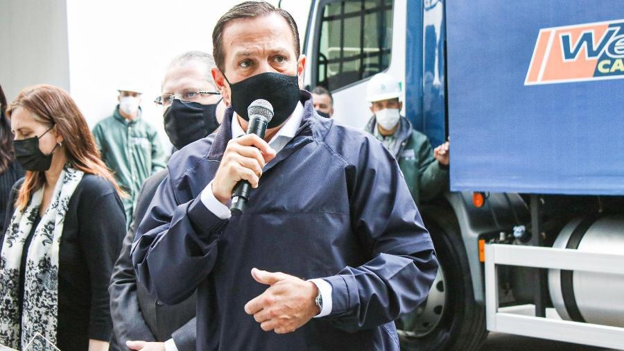 O governador de São Paulo, João Dória, participa da entrega de mais um lote de vacinas da CoronaVac para o Ministério da Saúde, no Instituto Butantan - ABRAÃO SOARES/ESTADÃO CONTEÚDO