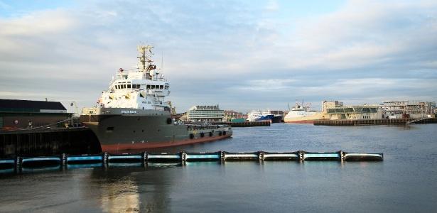 """O protótipo do projeto """"The Ocean Cleanup"""" foi lançado em Scheveningen, na Holanda - The Ocean Cleanup/Reuters"""