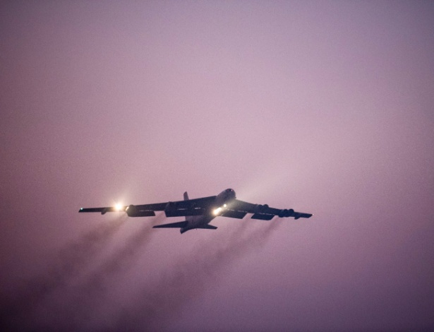 O bombardeiro B-52, usado pelas forças americanas no Afeganistão  - Master Sgt. Phil Speck/U.S. Air National Guard via The New York Times