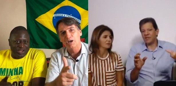 Transmissões ao vivo de Bolsonaro e Haddad