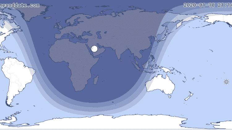Apenas a ponta do nordeste brasileiro será contemplada com um pouquinho do eclipse, já bem esmaecido  - Reprodução/Timeanddate - Reprodução/Timeanddate