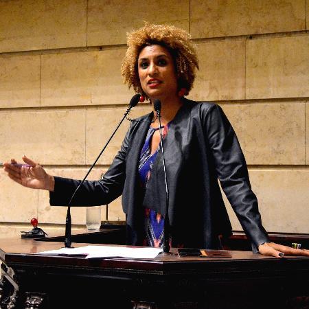 Marielle Franco durante discurso na Câmara Municipal do Rio em 2018 - RENAN OLAZ/AFP