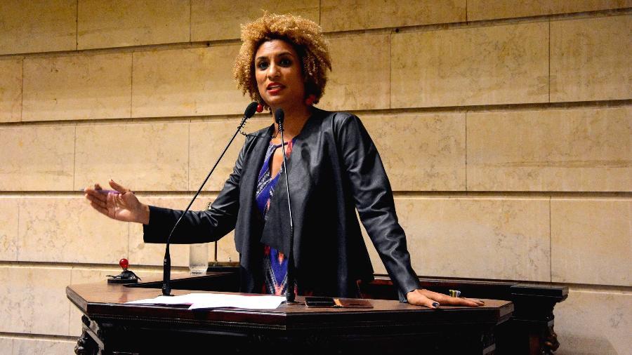 Marielle discursa na Câmara Municipal do Rio em 2018 - RENAN OLAZ/AFP