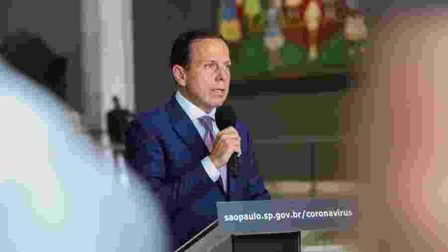 O governador de São Paulo, João Doria (PSDB), durante coletiva sobre o coronavírus - Divulgação/Governo do Estado de São Paulo