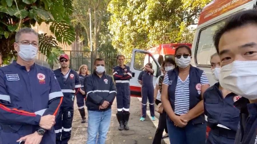 Profissionais do Samu de São Paulo prestam homenagem a socorrista morto por Covid-19 - Divulgação