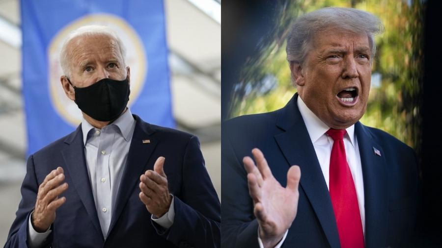 Biden (à esquerda) terá apoio de revista científica, que criticou duramente Trump - Drew Angerer e Sarah Silbiger/Getty Images/AFP