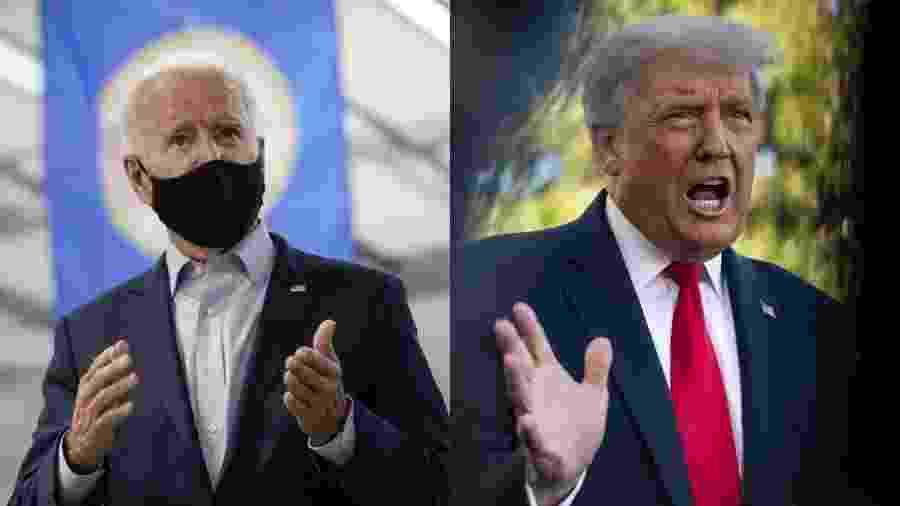 O democrata Joe Biden e o republicano Donald Trump, candidatos à presidência dos EUA - Drew Angerer e Sarah Silbiger/Getty Images/AFP