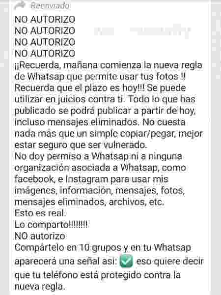 Mensagem falsa que promete ignorar nova política do WhatsApp - Reprodução - Reprodução