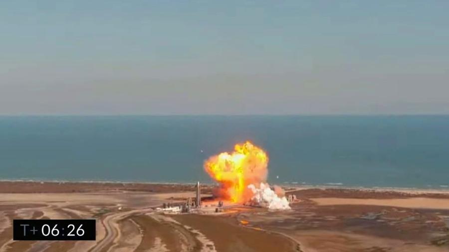Explosão de voo de teste da Starship, da SpaceX - Reprodução