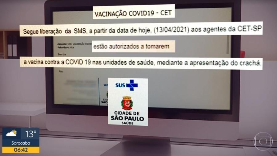 E-mail divulgado pela Globo mostra orientação errada liberando agentes da CET a serem vacinados contra covid-19 - Reprodução/TV Globo
