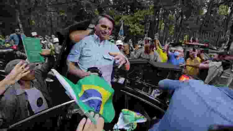 Jair Bolsonaro na chegada a ato na Avenida Paulista para discursar a apoiadores - Andre Lucas/UOL - Andre Lucas/UOL