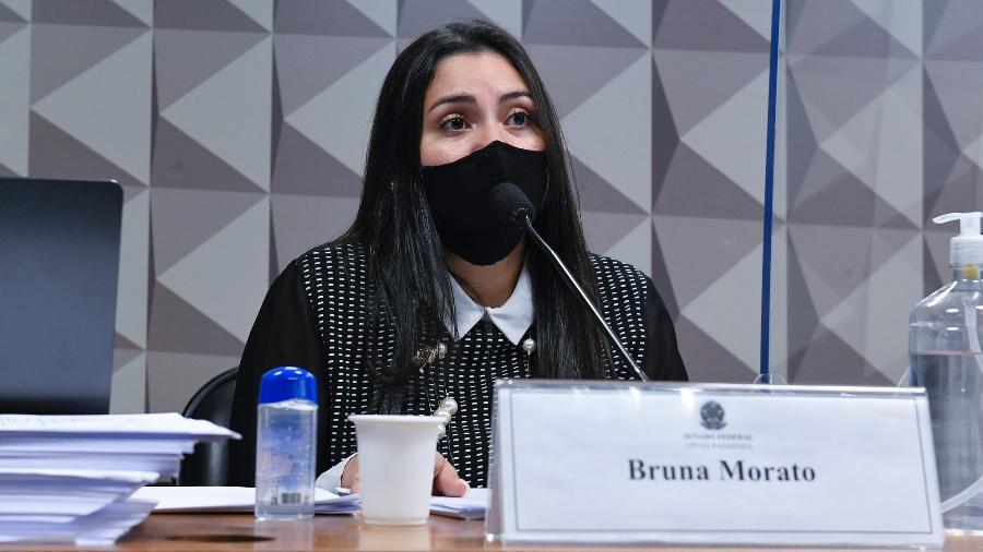 A advogada Bruna Morato, que representa médicos da Prevent Senior, durante depoimento à CPI da Covid - Roque de Sá/Agência Senado