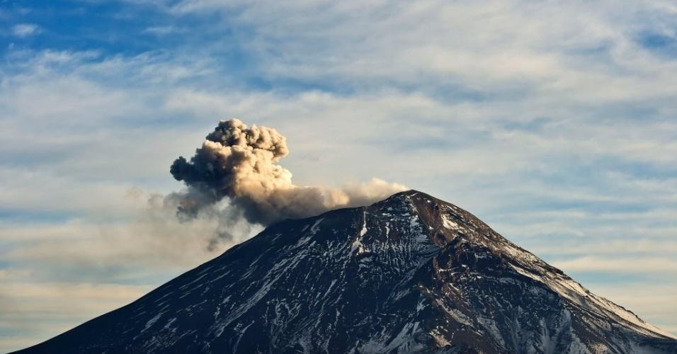 1º.fev.2016 - Nuvem de cinzas e fumaça expelida pelo vulcão Popocatepetl é vista no Parque Nacional Izta-Popo, no Estado mexicano de Puebla Central, no domingo (31). A imagem foi divulgada no dia seguinte
