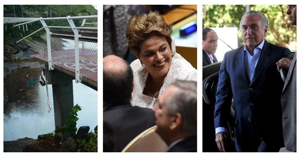 """Nesse feriadão de Tiradentes, um trecho a ciclovia Tim Maia, que liga os bairros de São Conrado e Leblon, na zona sul do Rio, desabou matando duas pessoas, um pouco mais de três meses após a sua inauguração. A presidente Dilma Rousseff foi à Nova York (EUA) para assinar o Acordo de Paris, na sede da ONU. Em discurso, falou da crise política no Brasil, mas evitou usar a palavra """"golpe"""". Por estar fora do país, a presidência foi assumida interinamente pelo seu vice, Michel Temer. Veja outras notícias que marcaram o feriado prolongado"""