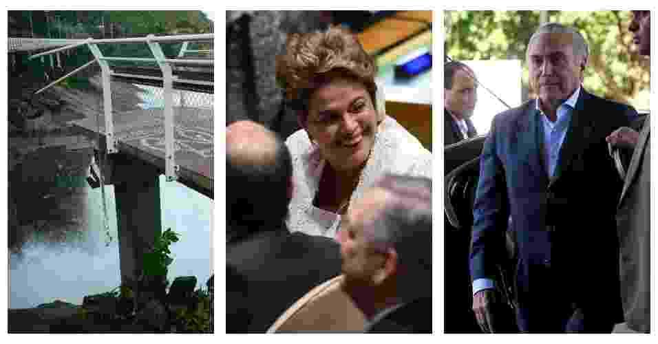 """Nesse feriadão de Tiradentes, um trecho a ciclovia Tim Maia, que liga os bairros de São Conrado e Leblon, na zona sul do Rio, desabou matando duas pessoas, um pouco mais de três meses após a sua inauguração. A presidente Dilma Rousseff foi à Nova York (EUA) para assinar o Acordo de Paris, na sede da ONU. Em discurso, falou da crise política no Brasil, mas evitou usar a palavra """"golpe"""". Por estar fora do país, a presidência foi assumida interinamente pelo seu vice, Michel Temer. Veja outras notícias que marcaram o feriado prolongado - UOL"""