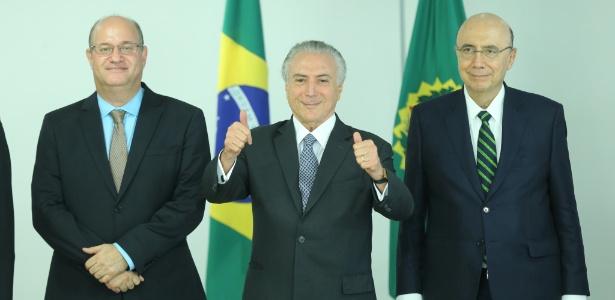 Da esquerda para a direita, Ilan Goldfajn, Michel Temer e Henrique Meirelles