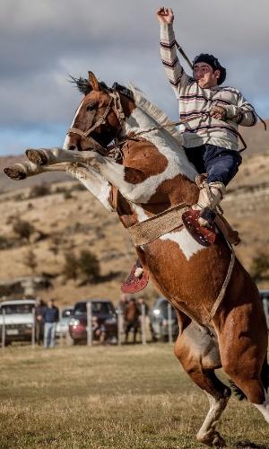 2.ago.2016 - Um peão faz uma gineteada (tentar ficar montado em um cavalo não domesticado) no Chile. Na América Latina, a tradicional gineteada testa a sorte dos competidores que tentam domar cavalos selvagens