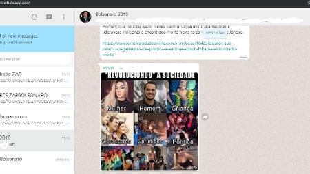 Grupo bolsonarista ativo no WhatsApp com participação de contas com características de robô - Reprodução/UOL