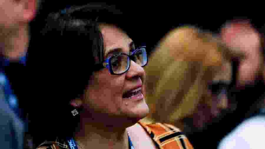 11.out.2019 - A ministra da Mulher, da Família e dos Direitos Humanos, Damares Alves, durante o evento CPAC Brasil (Conferência de Ação Política Conservadora), realizado em São Paulo - MARCELO CHELLO/CJPRESS/ESTADÃO CONTEÚDO