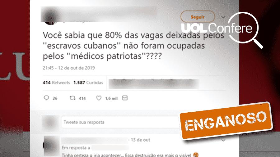22.out.2019 - Post enganoso diz que médicos brasileiros não ocuparam vagas de cubanos no Mais Médicos - Arte/UOL