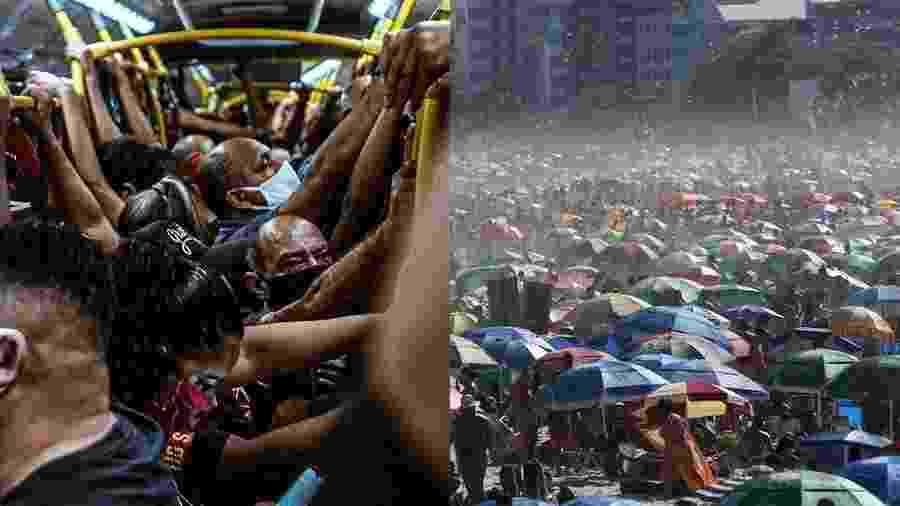 Dois flagrantes do Rio: BRT lotado em 08 de junho; Praia de Ipanema lotada em 30 de agosto  - Yan Marcelo/@yanzitx e Wilton Junior/Estadão