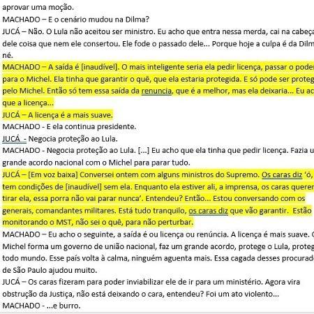 Primeira transcrição dos áudios gravados por Sérgio Machado com o então senador Romero Jucá divulgados em maio de 2016 - Reprodução - Reprodução