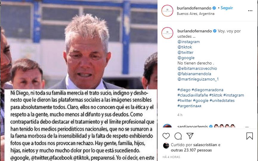 Fernando Burlando, advogado da ex-mulher de Maradona