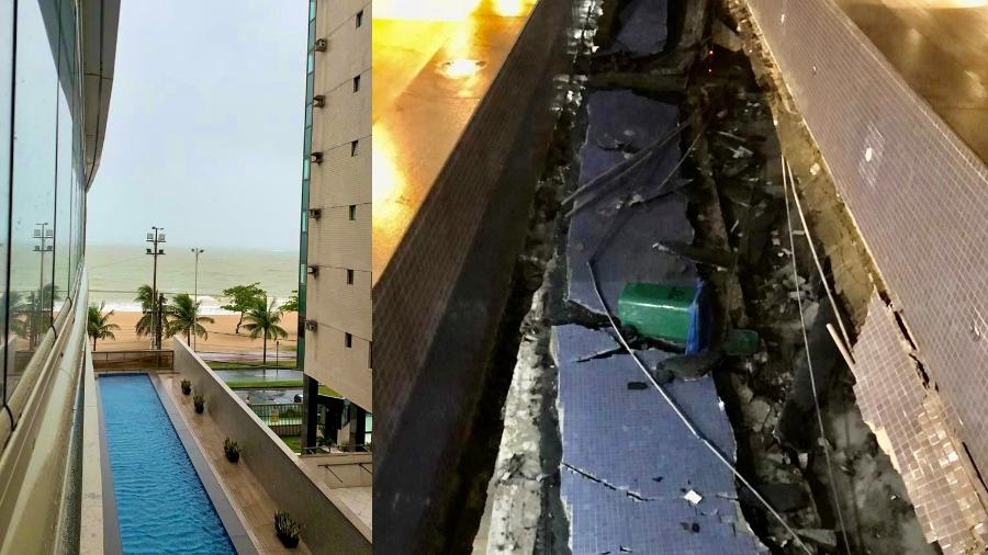 Piscina desabou em prédio de luxo no ES - Reprodução/Gabriel Giorissatto e Defesa Civil de Vila Velha