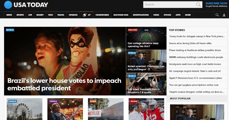 """O americano """"USA Today"""" também destaca o impeachment de Dilma Rousseff (PT) com uma foto de um manifestante segurando um boneco inflável da presidente"""