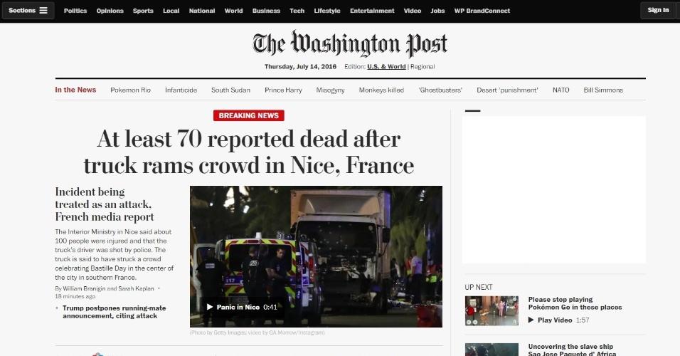 14.jul.2016 - Manchete no site do jornal norte-americano The Washington Post destaca a morte de dezenas de pessoas mortas após um caminhão atropelas uma multidão durante celebração da Queda da Bastilha, maior feriado nacional francês, no centro de Nice, na Riviera Francesa