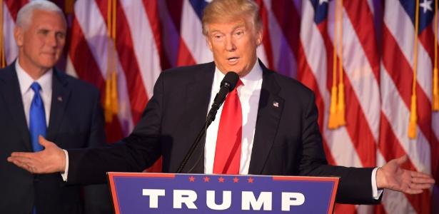 9.nov.2016 - Donald Trump faz discurso como presidente eleito dos EUA, em Nova York
