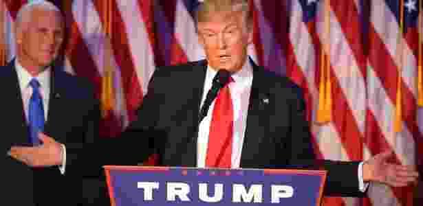 Donald Trump faz discurso como presidente eleito dos EUA, em Nova York - Jim Watson/ AFP