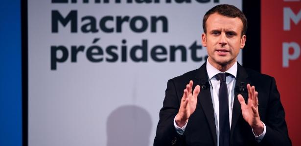 Candidato na eleição presidencial da França Emmanuel Macron