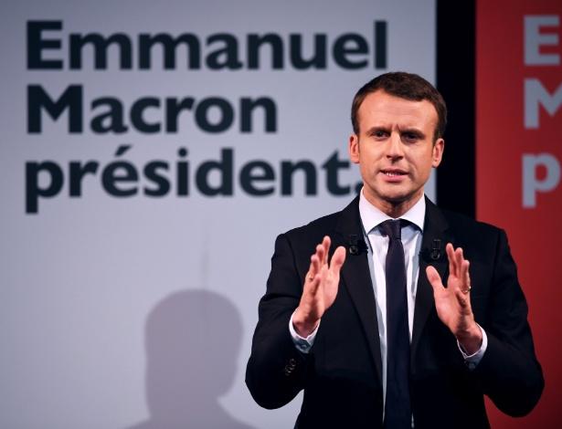 8.mar.2017 - Candidato na eleição presidencial da França Emmanuel Macron - Eric Feferberg/AFP Photo