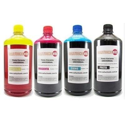 O kit com 4 litros de tinta nas cores amarela, magenta, ciano e preta vendido no site Cartucho Etc