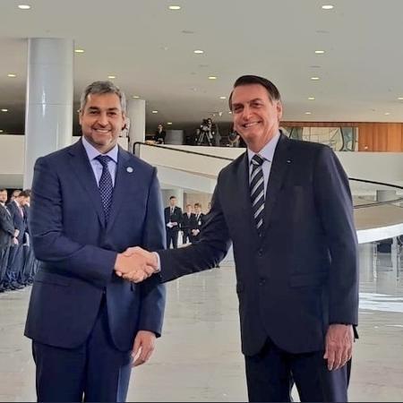 12.mar.2019 - O presidente do Paraguai, Mario Abdo Benítez, se reúne com o presidente do Brasil, Jair Bolsonaro - Reprodução/Twitter/@maritoabdo