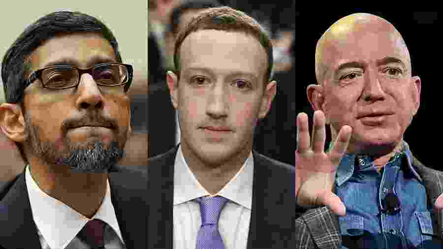 Sundar Pichai (Google), Mark Zuckerberg (Facebook) e Jeff Bezos (Amazon) - Arte/UOL - AFP
