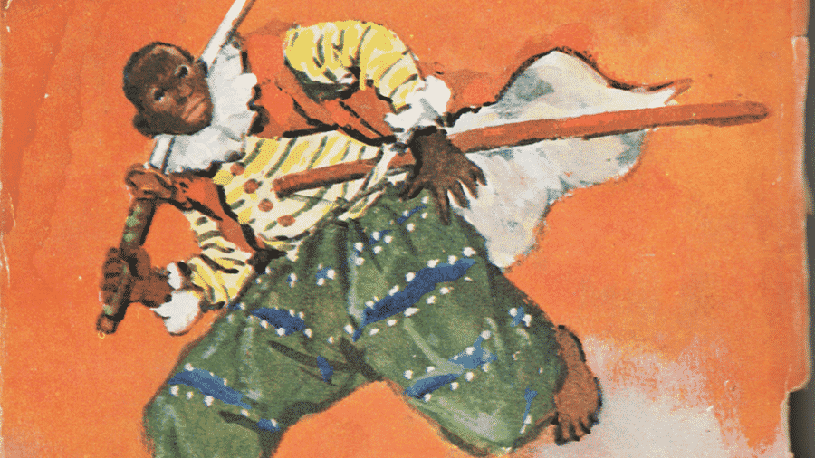 Ilustração de Yasuke no livro infantil de Kurusu Yoshio - Iwasaki Shoten/BBC