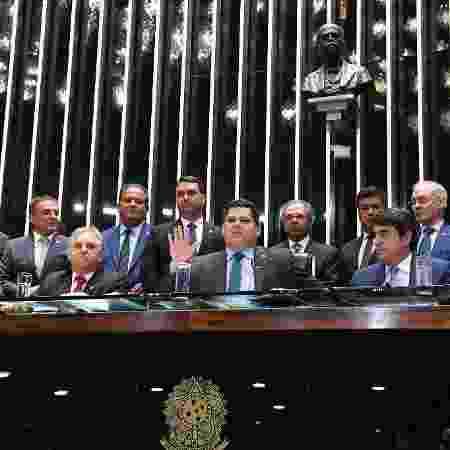 O presidente do Senado, Davi Alcolumbre (DEM-AP), durante votação da reforma da Previdência - Roque de Sá/Agência Senado