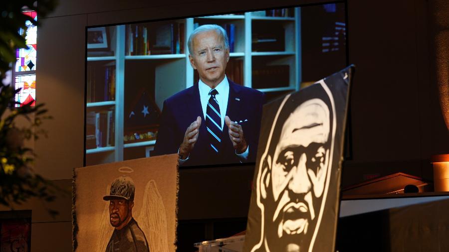 O democrata Joe Biden, que disputará com Trump a presidência dos EUA, discursa por vídeo no funeral de George Floyd - Getty Image