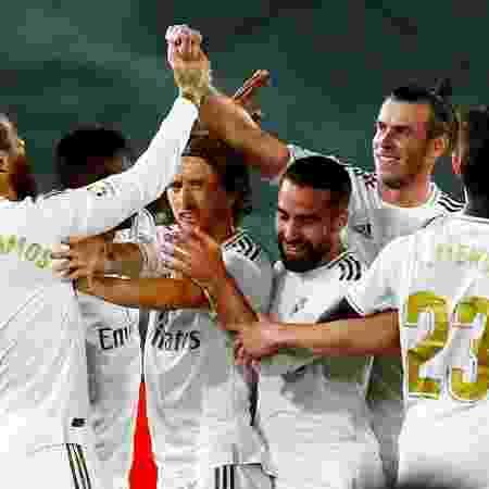 Jogadores do Real Madrid comemoram gol em partida contra Real Mallorca - Susana Vera