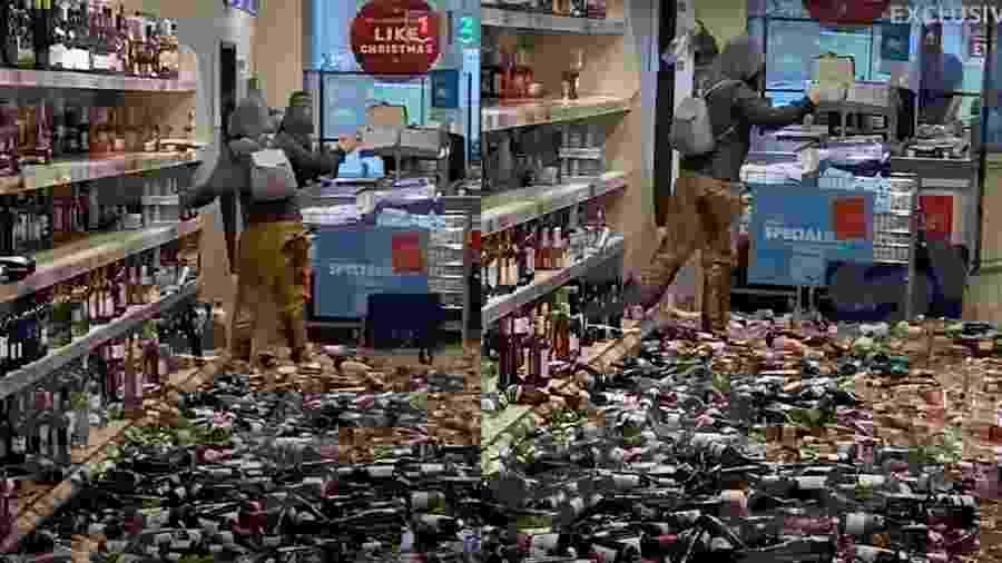 Mulher entra em mercado e quebra centenas de garrafas de bebida alcóolica em Hertfordshire, na Inglaterra - Reprodução/Youtube/The Sun