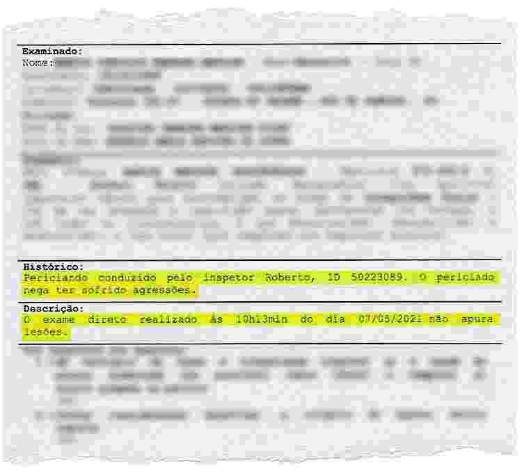 Laudo de um dos presos no Jacarezinho em 06 de maio, na operação Exceptis, não relata agressões posteriormente citadas na audiência de custódia - Reprodução / Instituto Médico-Legal - Reprodução / Instituto Médico-Legal