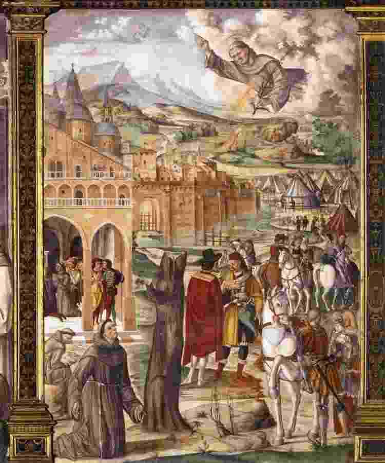 Afresco atribuído ao pintor Filippo da Verona e provavelmente feita em 1510 mostra Santo Antônio em aparição a seu confrade e seguidor Luca Belludi - Domínio Público - Domínio Público