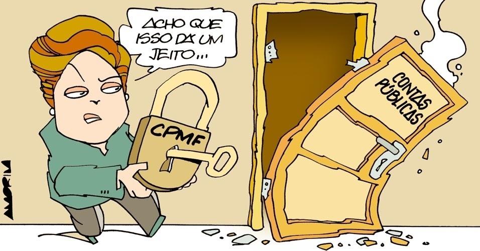 21.fev.2016 - Na charge do Amorim, a presidente Dilma Rousseff tenta consertar porta arrombada da casa. O governo defende a volta da CPMF (Contribuição Provisória sobre Movimentações Financeiras) de forma temporária para garantir maior arrecadação e a estabilidade fiscal