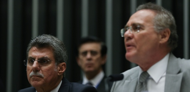 O senador Romero Jucá (PMDB-RR) e o presidente do Senado, Renan Calheiros (PMDB-AL), participam da sessão conjunta do Congresso para apreciar o projeto do governo que modifica a meta fiscal