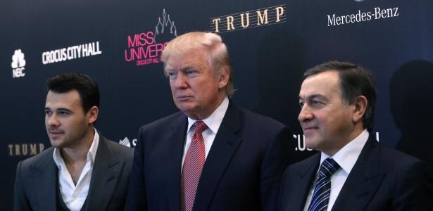 Trump com os empresários do grupo Crocus, da Rússia, em Moscou, em 2013. Presidente eleito dos EUA realizou um concurso Miss Universo na capital russa quatro anos atrás