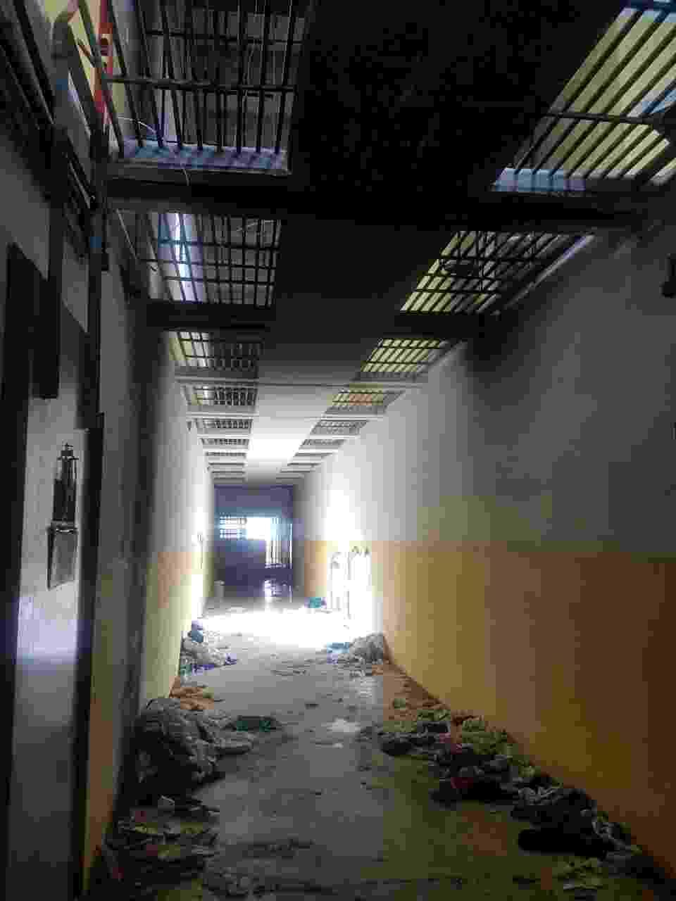 27.jan.2017 - Imagem mostra como a Força Nacional Penitenciária encontrou o interior do Pavilhão 5 de Alcaçuz após retomar o controle do presídio - Divulgação/Sindicato dos Agentes Penitenciários