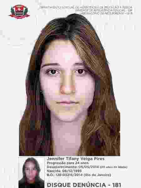 Imagem feita pela polícia de como Jennifer Tyfany Veiga Pires seria hoje, aos 24 anos - Divulgação/Polícia Civil